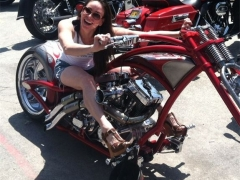 Hot Girl On Red Chopper